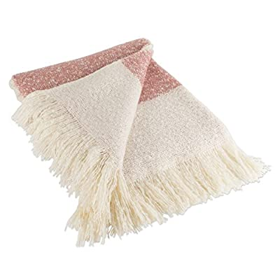"""DII Rugby Stripe Woven Thow, 100% Acrylic with Decorative Fringe, 50 x 60, Red - CONSTRUCTION - Throw measures 50 x 60"""", 100% Acrylic QUALITY IN THE DETAILS - Old-fashioned look with a modern twist with decorative fringe for the perfect finish that won't unravel in the wash FITS THE RUSTIC, VINTAGE, OR DISTRESSED LOOK - This throw has a very chic and trendy look, throw over a couch or chair to add a splash of color and provide warmth on a cold night - blankets-throws, bedroom-sheets-comforters, bedroom - 51pB1axHKML. SS400  -"""