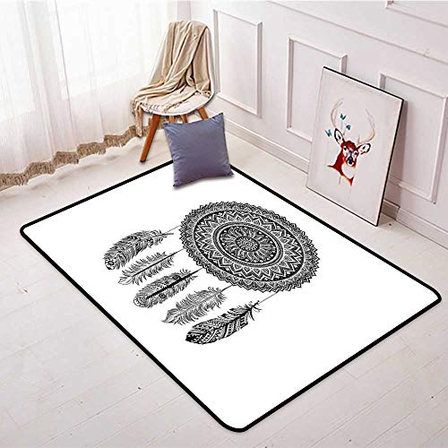Non-Slip Carpet Feather Ethnic Dream Catcher with Blooming Foliage Leaves with Hanging Aztec Quills W59 xL71 Suitable for Restaurants,Family Rooms,corridors,foyers. by Anmaseven (Image #1)