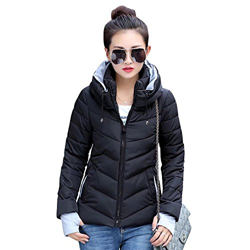 SITENG Womens Winter Jacket Parkas Thicken Plus Size Outerwear Solid Hooded Coats Short Slim Cotton Padded Basic Tops,(Tag XL)Medium,Black by SITENG (Image #2)