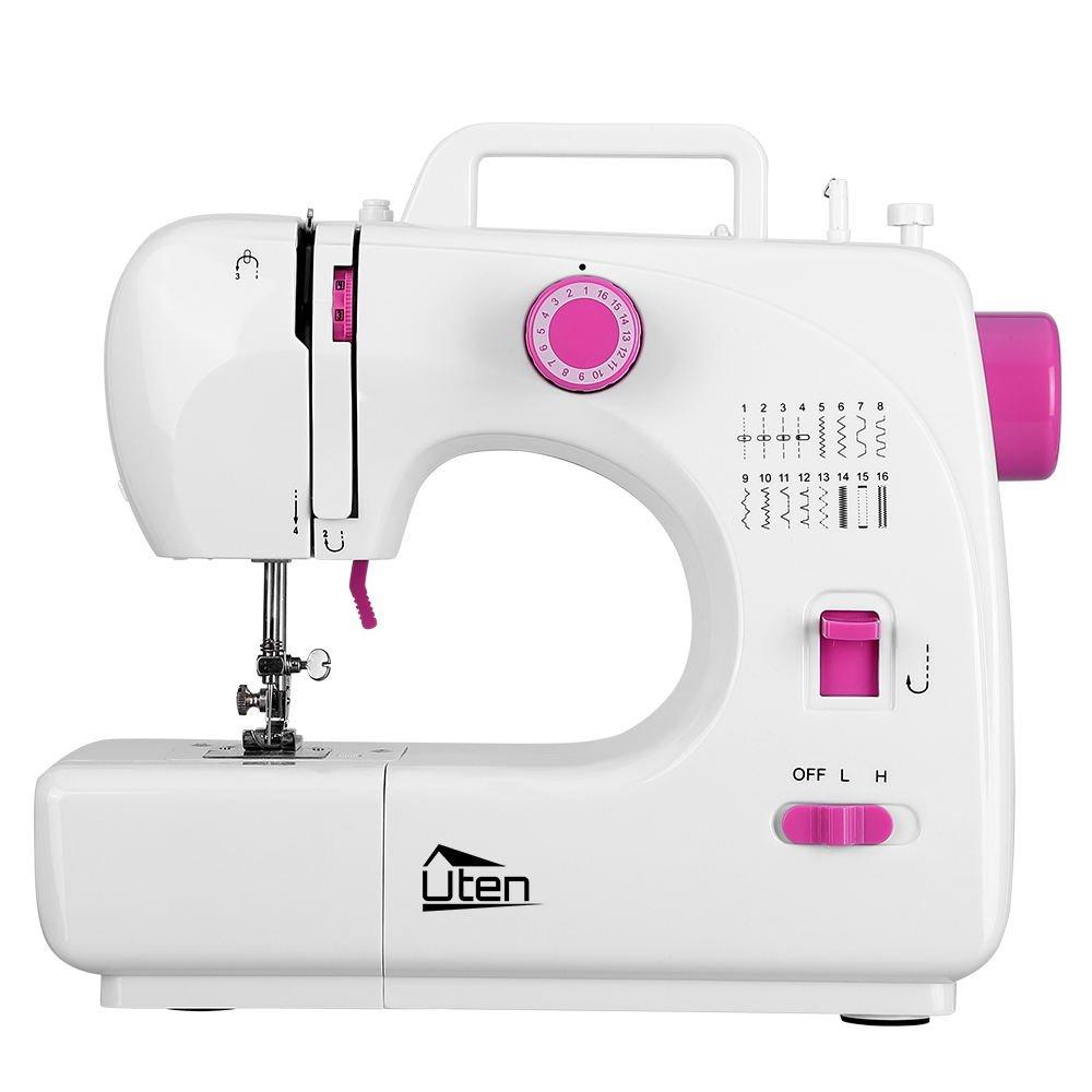 Uten máquina de coser eléctrica para principiantes, 16 puntos, blanca, portátil ajustable, multifunción, inalámbrica, velocidad doble: Amazon.es: Hogar