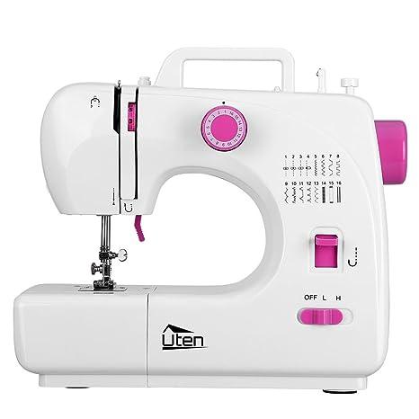 Uten máquina de coser eléctrica para principiantes, 16 puntos, blanca, portátil ajustable,