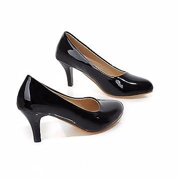 Kleine runde Spiegel hochhackigen Schuhe Schuhe Farbe Code Pendler alle - Frauen Schuhe mit hohen Absätzen, weiß, 34
