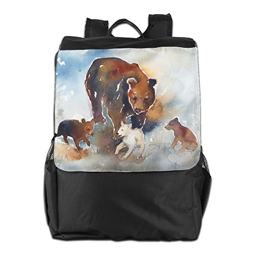 Mama Bear And Cubs Outdoor Travel Backpack Bags Daypack Bookbag For Men   Women