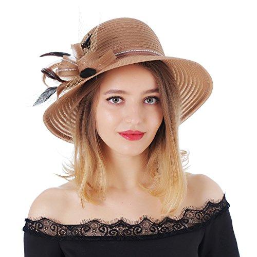 - Dantiya Women's Kentucky Derby Bowler Church Cloche Hat Organza Bridal Dress Cap (Brown, One Size)