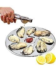 Flunyina Stainless Steel Oyster Pans Oyster Shell Shaped Gril Plates Lemons and Sauce Seafood Serving Plates Silver, Stainless Steel Lemon Squeezer Lemon Juicer Handheld, 2 Packs