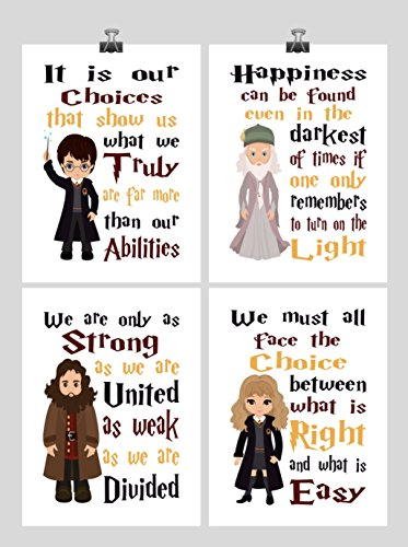 Harry Potter Quotes Set of 4 Nursery Decor Wall Art Prints - Harry Potter, Dumbledore, Hagrid and Hermione- Multiple Sizes