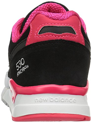 New Balance 530 Lifestyle Leather/Suede/Mesh, Gymnastique femme Noir / Blanc / Cerise (Black / White / Bright Cherry)