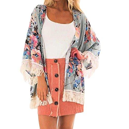 DEATU Fashion Women Chiffon Coat Flower Print Tassels Tops Suit Kimono Cover Beach Smock (M, Green)