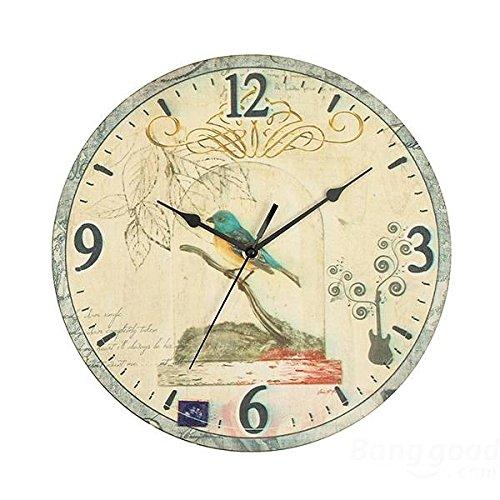 mark8shop rustique Oiseaux Horloge murale Chic Home Coffeeshop Décoration Murale