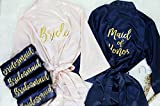 Joy Mabelle Women's Satin Short Kimono Robe for Bride, Bridesmaids, Maid of Honor, Mother of the Bride, Mother of the Groom, Wedding Gifts, Bridesmaid Proposal Gifts, Personalized Robes