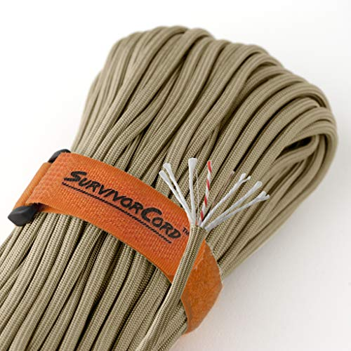 Titan SurvivorCord | Desert TAN | 103 Feet | Patented Military Type III 550 Paracord/Parachute Cord (3/16