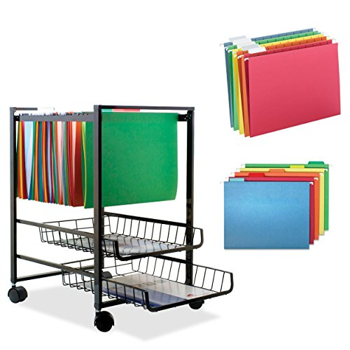 3 Piece Replacement Pick - Advantus Sliding Baskets Mobile File Cart w/ 25-Piece Assorted Letter-Size Hanging Folders