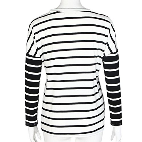 Tongshi Ropa de rayas manga redondo cuello camisa Top blusa larga de mujer Blanco