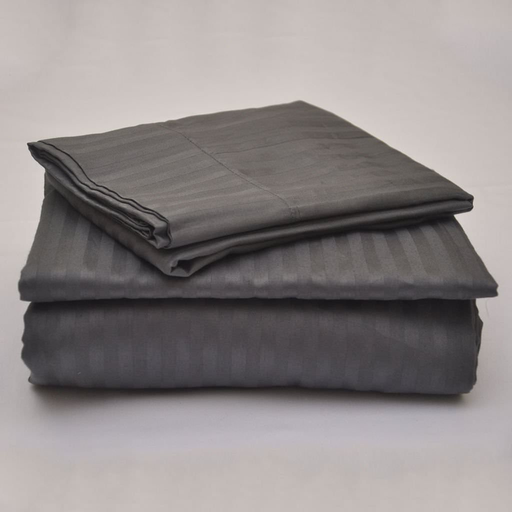 Trulinen Offers- Elegant 4PC Sheet Set with 21 Deep Pocket Made by 400TC 100% Egyptian Cotton (1 Fitted Sheet, 1 Flat Sheet and 2 Pillowcases) Easy to use Queen XL, Sage Stripe Truelinen