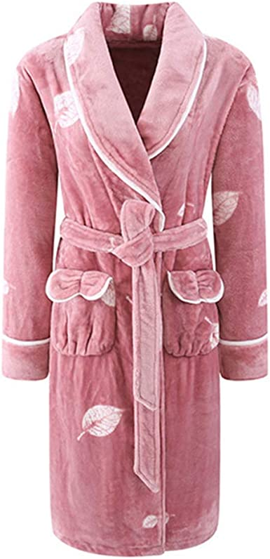 Girl Dressing Gown Thick Flannel Winter Bathrobe Ladies Pajamas Autumn Long Lapel Loungewear
