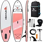 """Abahub Inflatable SUP, Wide 10'6"""" x 34"""" x 6"""" iSUP, Blue/Gray/Orange/Pink Standup Paddleboar"""