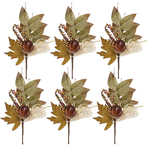 Valery Madelyn 6 Packs Fall Floral Picks with Pumpkin Berries Twig Stem Leaves Artificial Flowers Picks for Fall Decor Thanksgiving Fall Decorations Autumn Flowers for Wreath Garland Home Decor