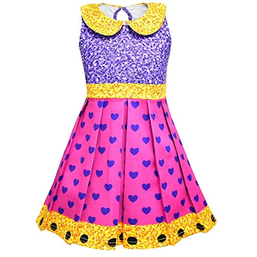 zaring Printed Dress Cute Short Sleeve Princess Costume Dresses Holiday Kid for LOL Surprise Dolls (Purple one, 140/6-7Y(5))