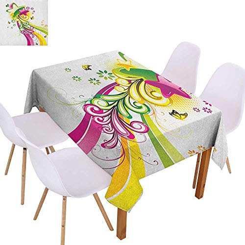- Cash Hoover Water Washable Tablecloth Abstract,Vibrant Colored Shooting Stars Butterflies and Swirls with Floral Space,Hot Pink Yellow Green,for Home & Office & Restaurant Table Tea Table 55