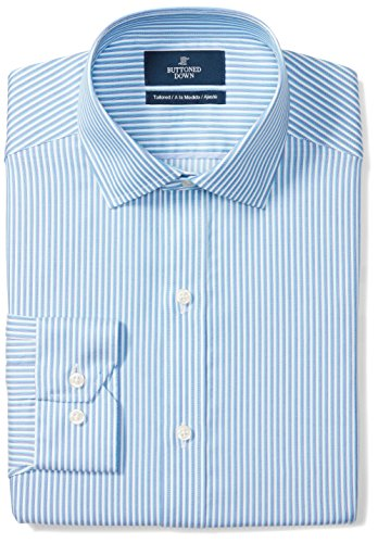 - BUTTONED DOWN Men's Tailored Fit Spread-Collar Pattern Non-Iron Dress Shirt, Blue/Teal Stripe, 16