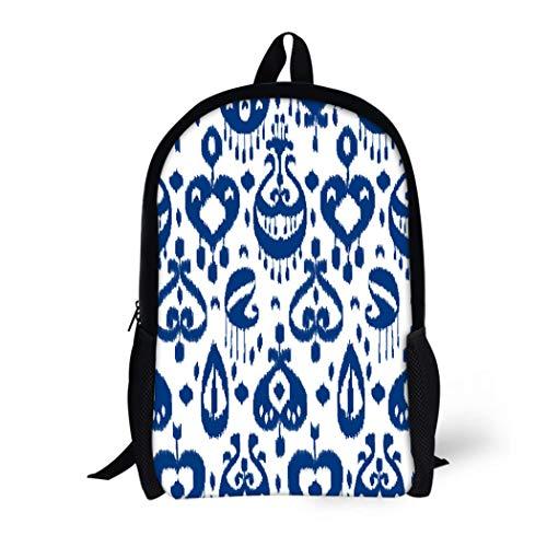 4c5b1c508a0a Pinbeam Backpack Travel Daypack Navy Uzbek Blue and White Ikat Asian  Traditional Waterproof School Bag