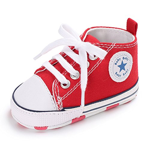 Unisex Baby Girls Boys Canvas Shoes Soft Sole Toddler First Walker Infant Sneaker Newborn Crib Shoes(Red,0-6Month)]()