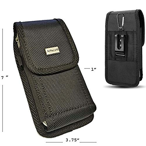 Type Clip Belt (AIScell Universal Metal Belt Clip Holster For Extra Large Phone [ Rugged Nylon Pouch Case] Fits iPhone Xs Max, Xr, 8 Plus, 7 Plus, 6S/ 6 Plus With Hybrid Protective Armor Thick Cover/Battery Case)