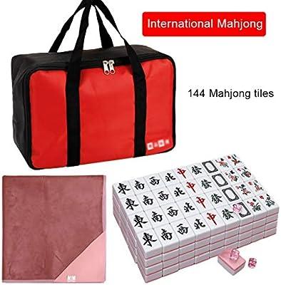 Mah Jong 144 fichas de Mahjong Inicio frotando Mahjong Juego de Mesa Juegos de Entretenimiento al Aire Libre Mahjong portátil con Bolsa Mahjong Juegos Tradicionales (Color : Pink, Size : 42#): Amazon.es: Hogar