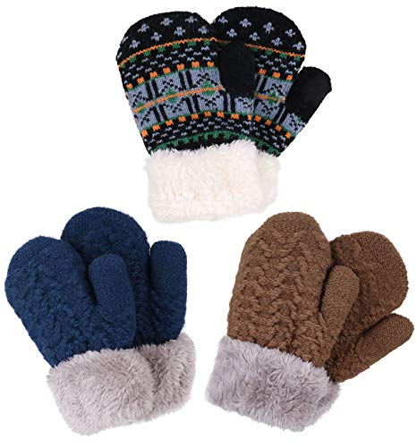 Verabella Boys Gloves Girl's Sherpa Lined Fuzzy Cuff Winter Mittens Knitted Gloves,2-5 ()