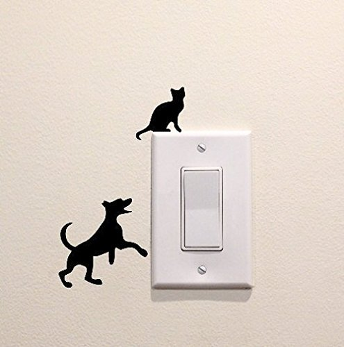 Dog Playing with Cat Sillhouette Vinyl Decal Sticker Light Switch Kids Nursery