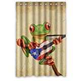 """48""""(Width)x 72""""(Height) Hot Sale Tree Frog Playing Puerto Rico Flag Guitar Waterproof Bathroom Bath Polyester Shower Curtain"""