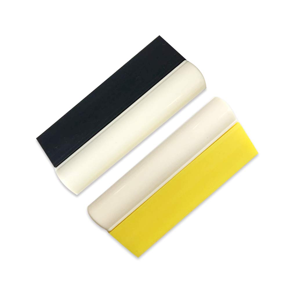 SYNTHIIZ Car Rubber Squeegee,Car Vinyl Tinting and Solar Film Wrapping Tool Pack of 2 4.7 Inch Long Rubber Turbo Squeegee with Non-Slip Handle for Water Wiper and Glass Scraper