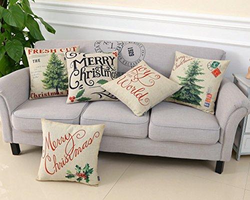TRENDIN Merry Christmas Throw Pillow Cover Gifts Christmas Tree Xmas Home Decor Design Cotton Linen 18 x 18 Cushion Cover for Sofa PL071TR