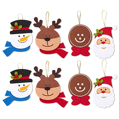 Juvale Pack of 8 Felt Ornament Set - Includes Reindeer, Santa Claus, Gingerbread Man, Snowman Heads - Cute Christmas Ornaments - Ready to Hang on Christmas Tree -