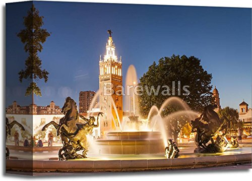 Kansas City Missouri Fountain At Country Club Plaza Paper Print Wall Art Gallery Wrapped Canvas Art (8in. x - Country Kansas Plaza City