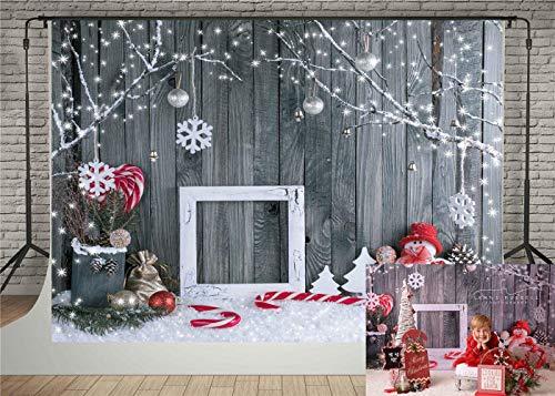 Kate 7x5ft Christmas Photography Backdrops Gray Wood Wall Background Snowman Snowflake Backdrop