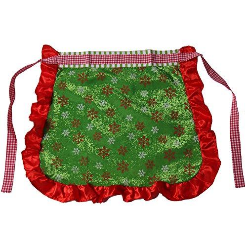 Mrs. Santa Claus Green Snowflake Half Apron