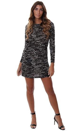 fc4e2cbfbb0 Veronica M Dresses Long Sleeve Printed Knit Shift Black Brown Mini -  Black Brown - L at Amazon Women s Clothing store