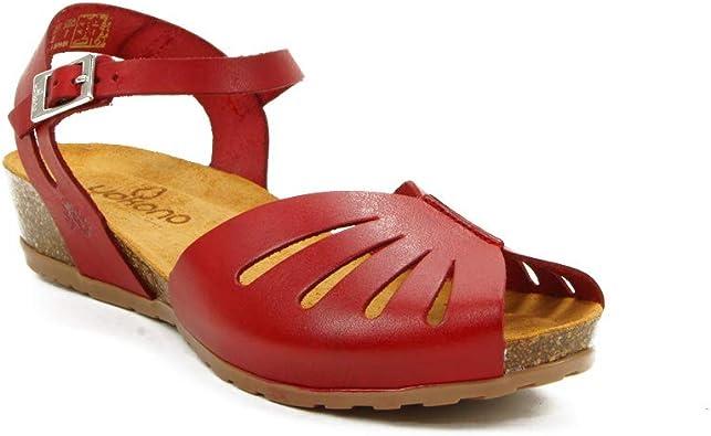 Sandalias de Cuero Fabricadas en España Yokono Capri 071 Roja ...