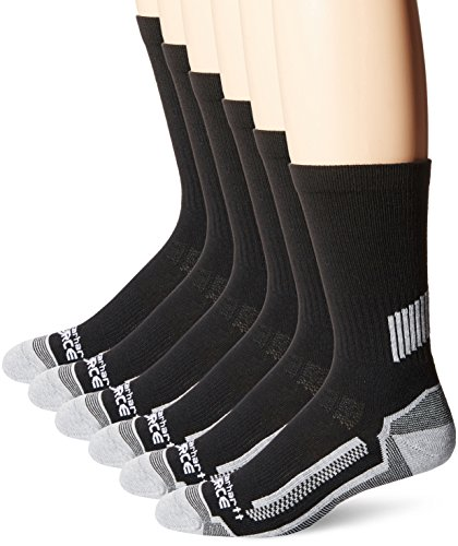 Carhartt Men's 6 Pack Force Performance Work Crew Socks,Black,Large(Shoe Size:6-12/Sock Size: 10-13)
