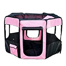 """Pawhut 46"""" Deluxe Soft Sided Folding Pet Playpen / Crate - Pink / Black"""