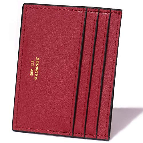 DONWORD RFID Slim Leather Card Case Wallet Minimalist Credit Card Holder Money Clip (Leather Card Case With Money Clip)