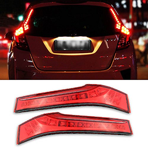Jazz Rear Brake - iJDMTOY (2) Direct Replacement Red Lens 14-LED Lights Rear Side Pillar Tail Brake Lamps For 2015-up Honda FIT