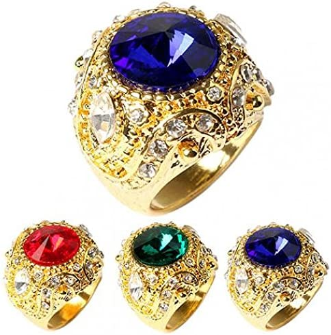 Amesii Mens Vintage Luxury Big Resin Crown Gold Plated Alloy Ring Jewelry Size 7-10