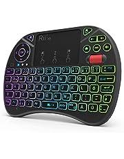 Rii Mini-tangentbord med pekplatta, smart TV-tangentbord, 2,4 GHz trådlöst tangentbord med 8 färgbakgrundsbelysning och scrollhjul (tysk, svart