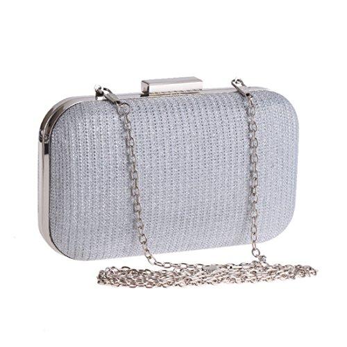 Party Evening Chain Women's Square Clutch Hard Shell Clutch Silver Bag Purse Small Handbag JESSIEKERVIN Box pfxESSn