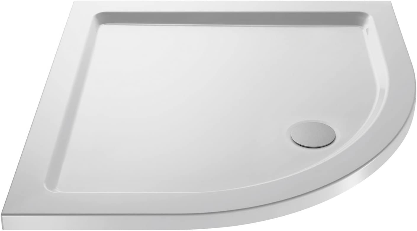 Nuie NTP097 | Modern Bathroom Quadrant Slimline Pearlstone Shower Tray, 760mm x 760mm, Gloss White