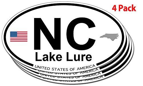 US Decal, Inc. Lake Lure, North Carolina Oval Sticker - 4 Pack
