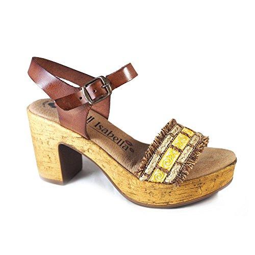 La Valenciana Sandalia Para Mujer Oh Isabella 3798 con Tacón Cómodo y Plataforma, Fabricado EN Piel, Color Marrón Cierre EN Hebilla Marrón
