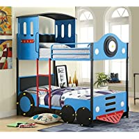 HOMES: Inside + Out ioHOMES Blue Express Rail Bunk Bed, Twin, Blue